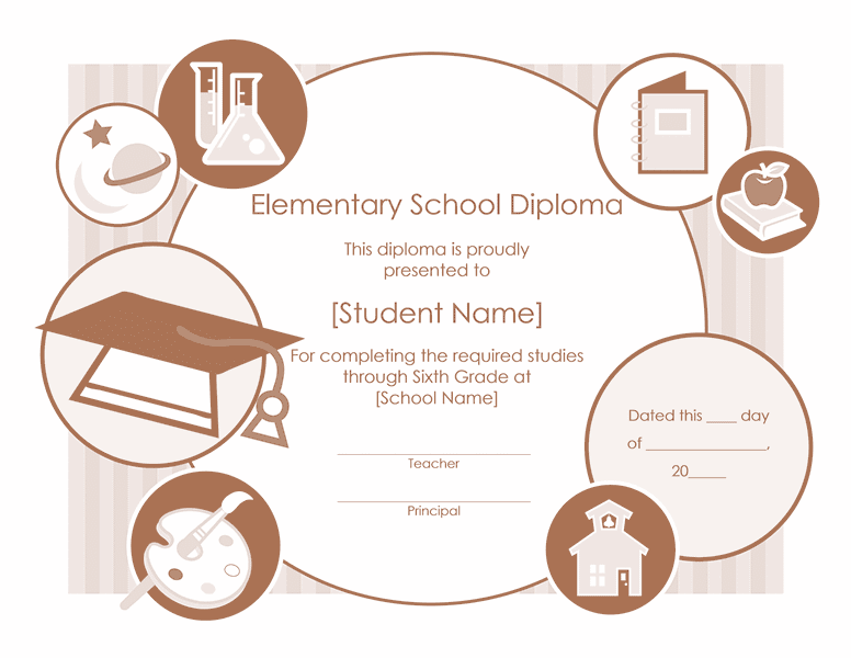 Elementary School Diploma Certificate Template 01
