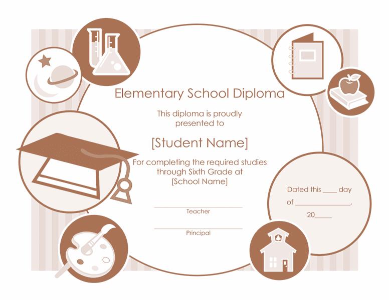 Elementary School Diploma Certificate Template 01