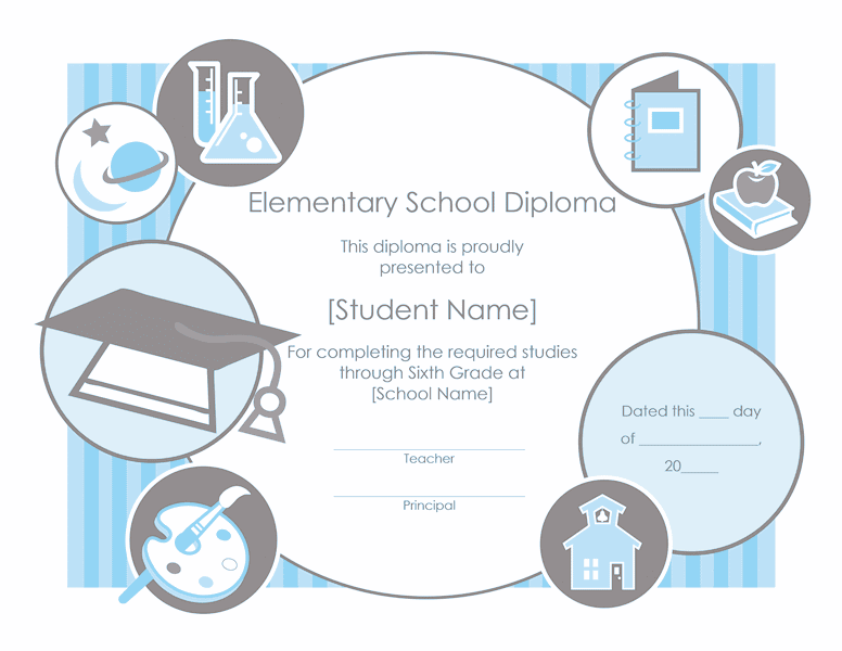 Elementary School Diploma Certificate Template 02