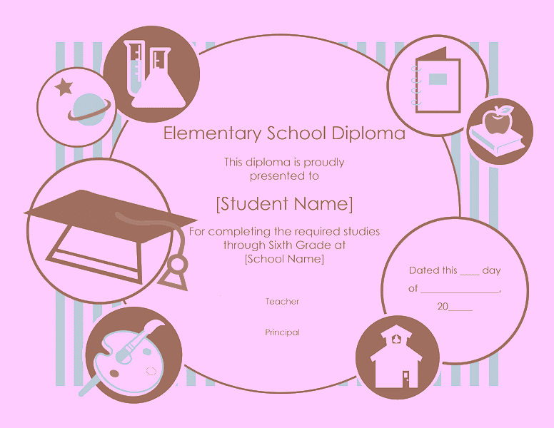 Elementary School Diploma Certificate Template 03