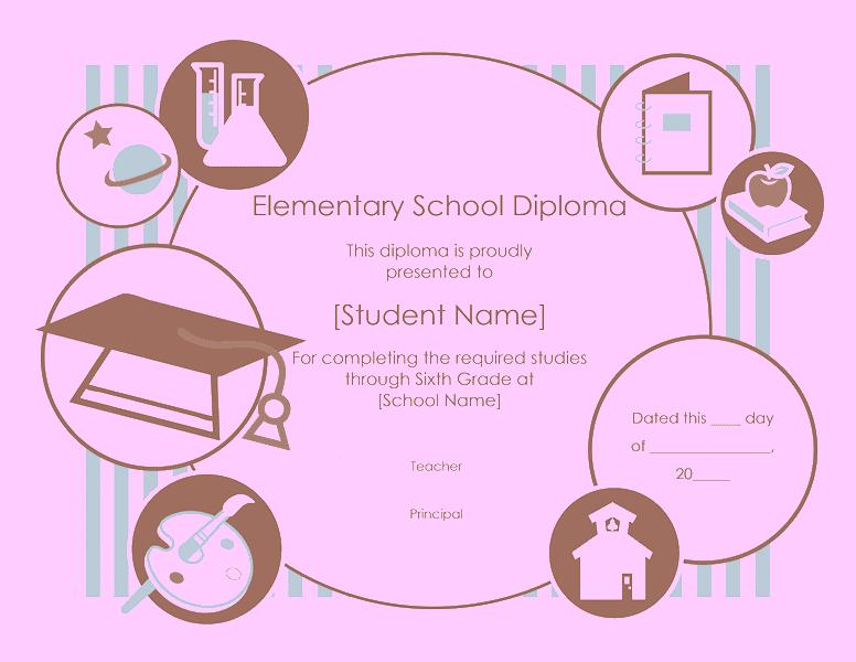 Elementary School Diploma Certificate Template 03