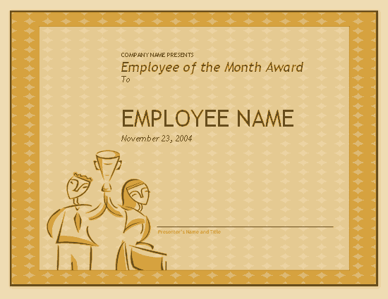 employee of the month certificate template free download - download award free certificate templates for ms office