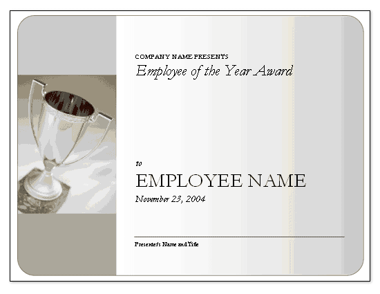 Employee of the year award free certificate templates in for Employee of the year certificate free template