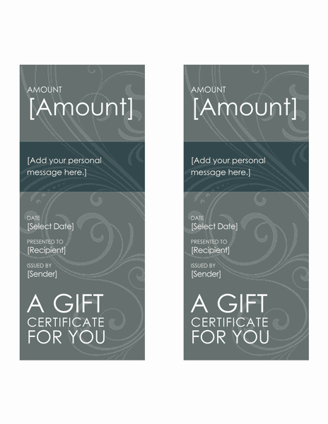 Endowment Certificates (bluish Whirl, 2 Per Page) Grayscale
