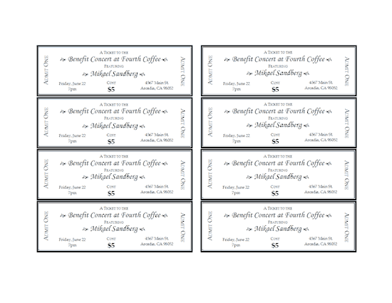 Doc Tickets Template Free Download Free Printable Event – Free Printable Ticket Template