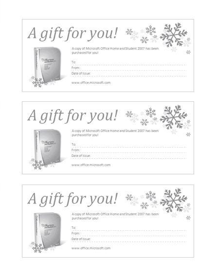 Gift Certificate For Microsoft Office Home And Student 2007 Grayscale
