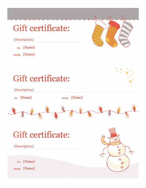 Holiday Gift Certificate Template Word Christmas Gift Certificates