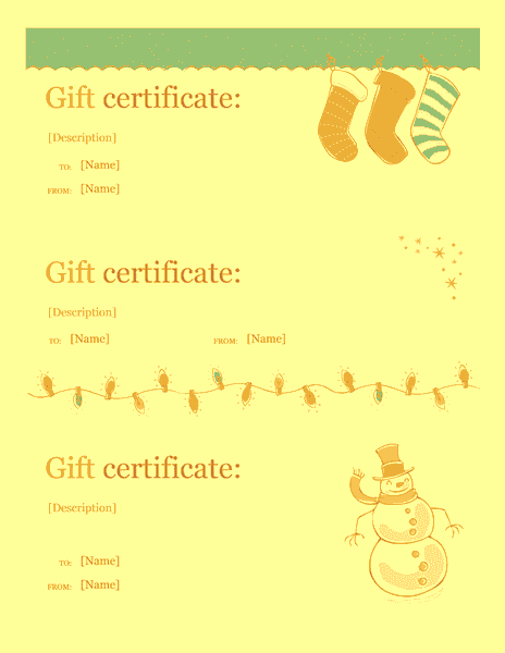 Download a free certificate templates for ms office for Christmas gift certificate template word