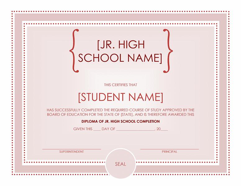 junior high school certificate
