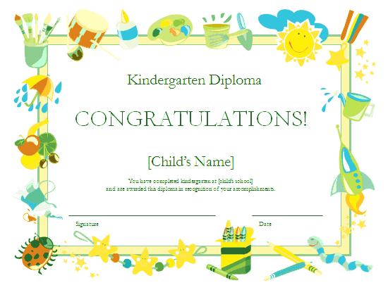 Kindergarten Diploma Certificate Green-theme