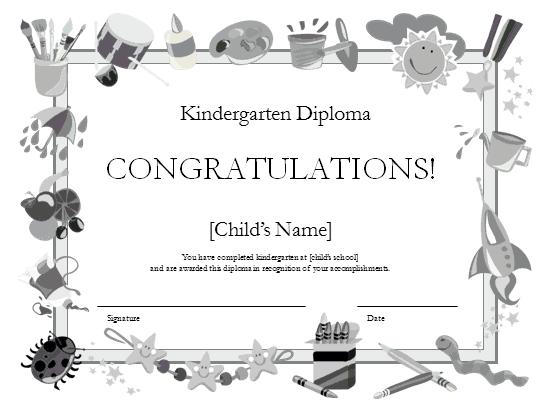 Kindergarten Diploma Certificate Grey-theme