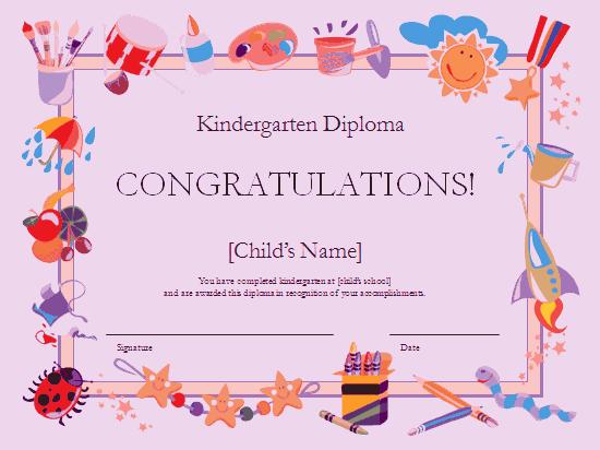 Kindergarten Diploma Certificate Purple-theme
