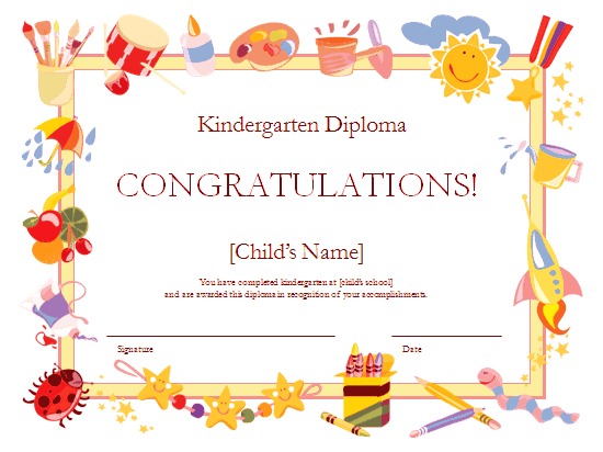 Kindergarten Diploma Certificate Red-theme