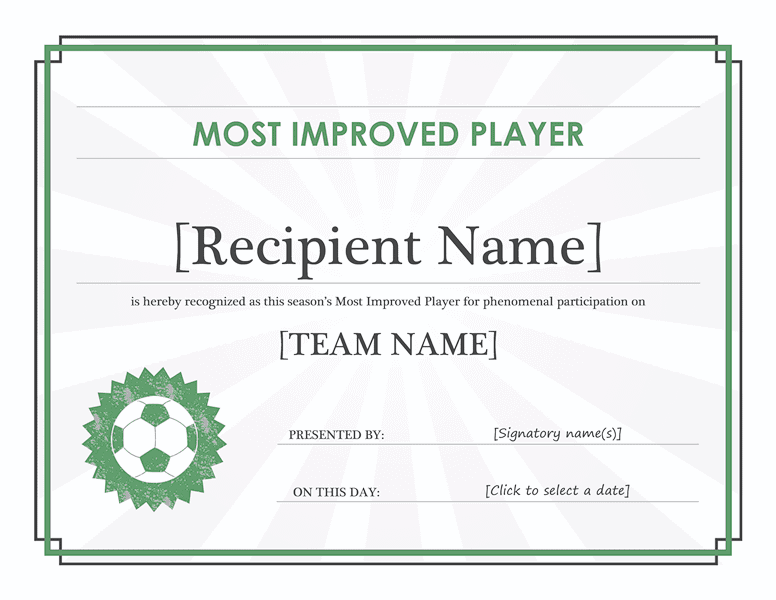 Most improved player certificate free certificate for Most improved certificate template