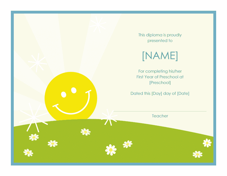 Preschool Certificate Of Completion Template 01