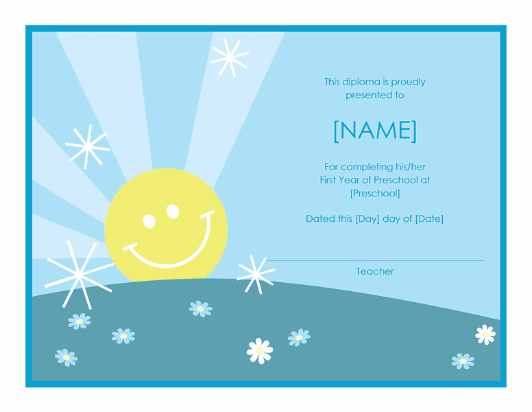 Preschool Certificate Of Completion Template 02