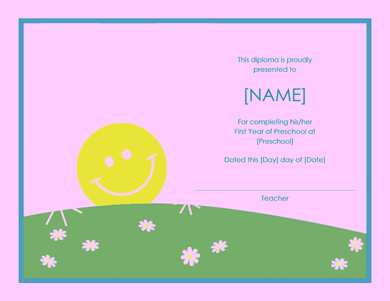 Preschool Certificate Of Completion Template 03