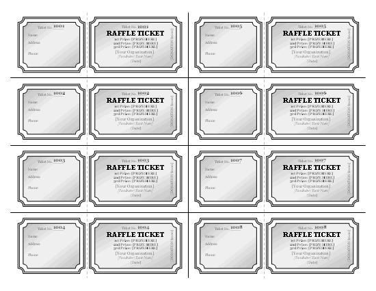 Raffle Tickets Grayscale