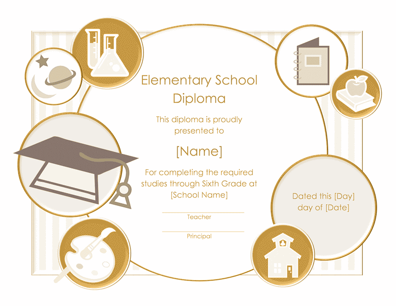 School Diploma Certificate For Elementary Grade 01