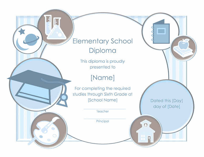 School Diploma Certificate For Elementary Grade 02