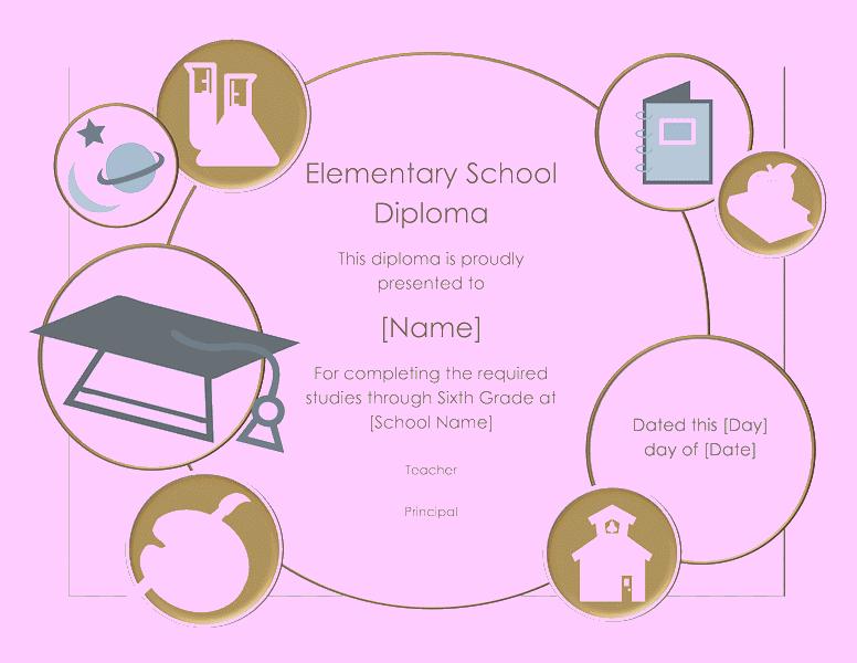 School Diploma Certificate For Elementary Grade 03