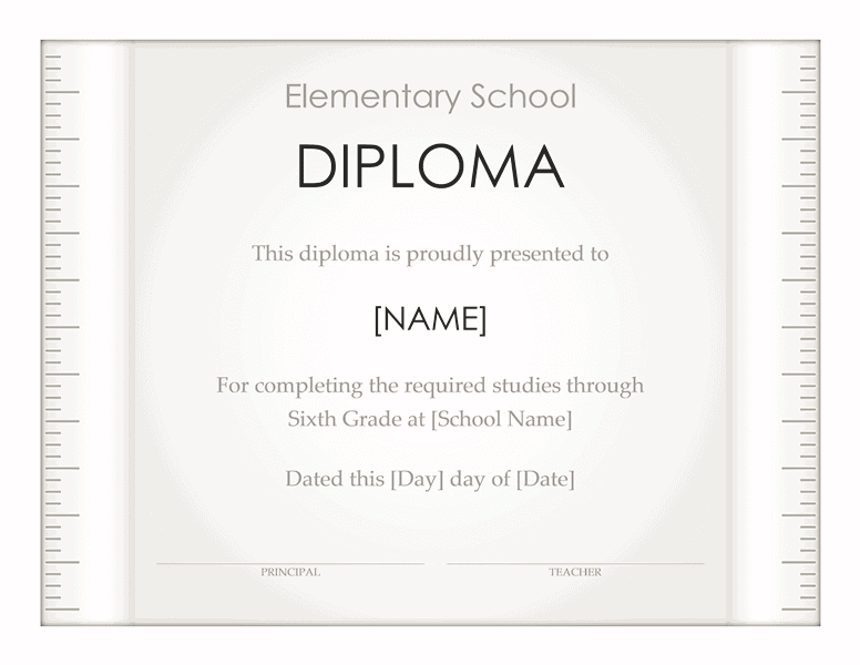 School Diploma Template For Elementary Grade 01