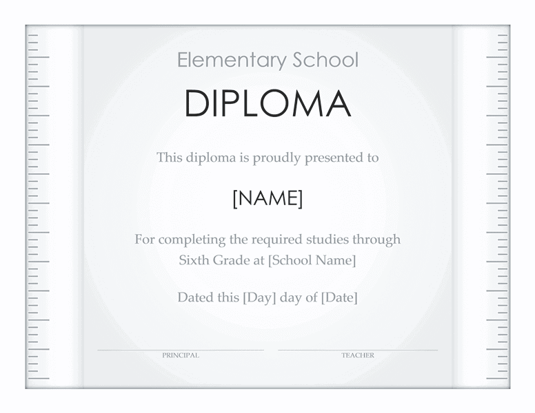 School Diploma Template For Elementary Grade 02
