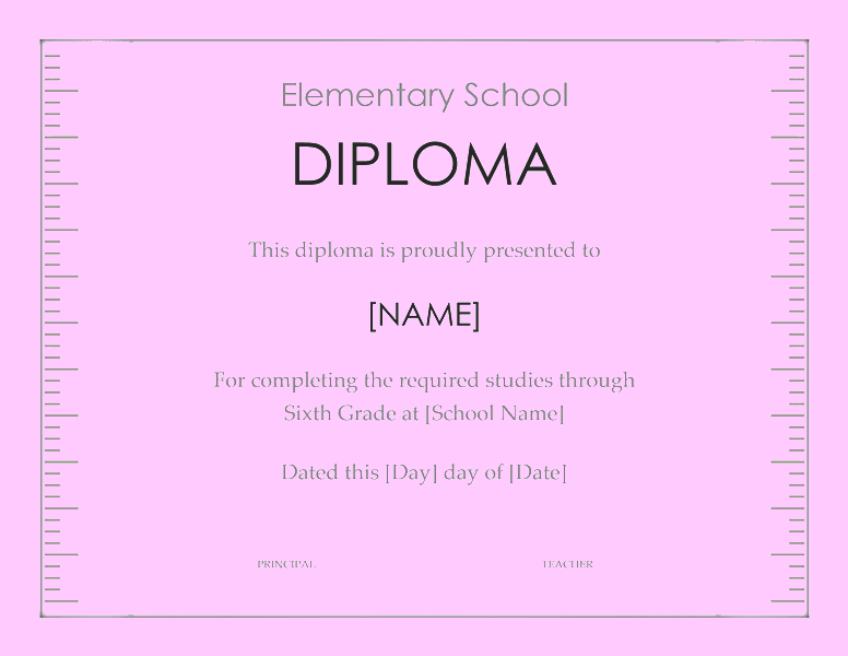 School Diploma Template For Elementary Grade 03