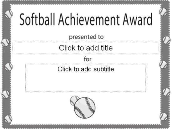 Softball Achievement Award Certificate Free Certificate