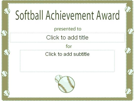 Softball Achievement Award Certificate - Free Certificate ...