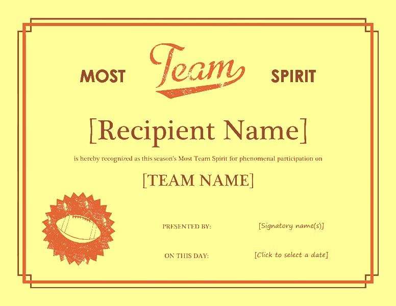 Squad Tone Awarding Certificate Yellow