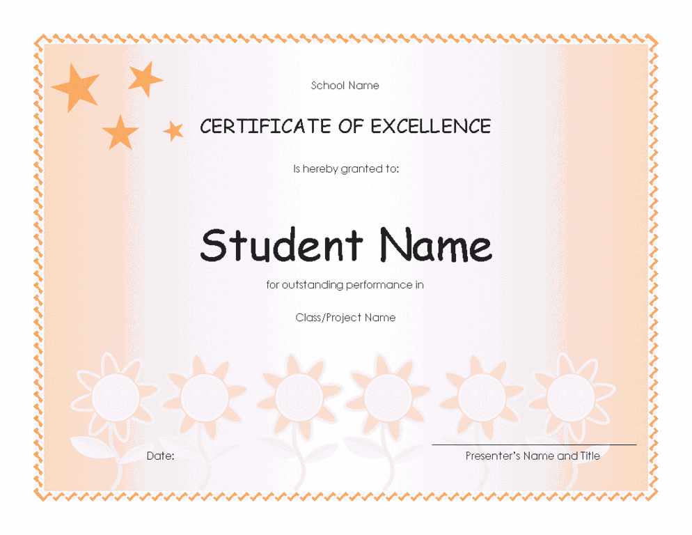 student excellence award elementary free certificate templates in academic award. Black Bedroom Furniture Sets. Home Design Ideas