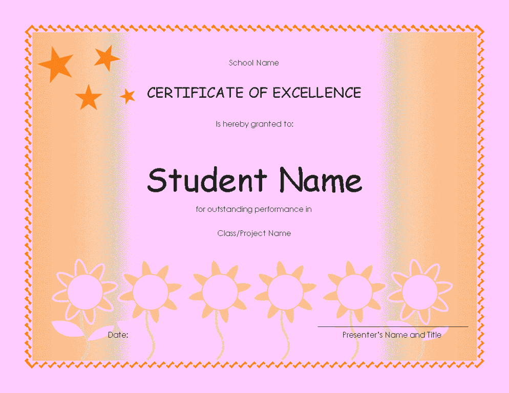 student excellence award elementary free certificate