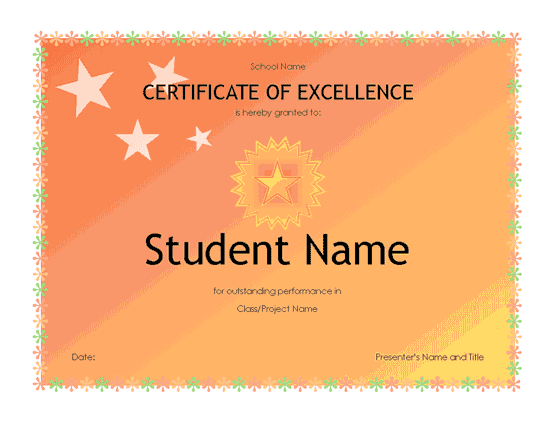 student excellence award  high school