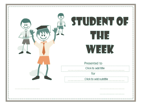 Student Of The Week Certificate Green-theme