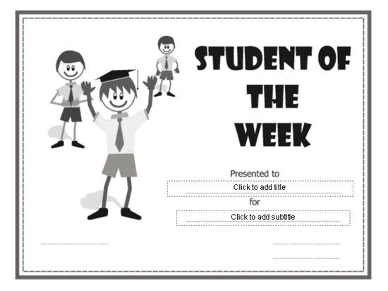 Student Of The Week Certificate Grey-theme