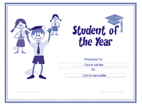 Student Of The Year Award Certificate Blue-theme