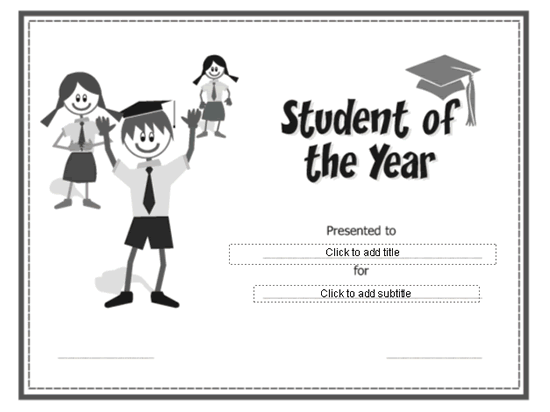 Student Of The Year Award Certificate Grey-theme