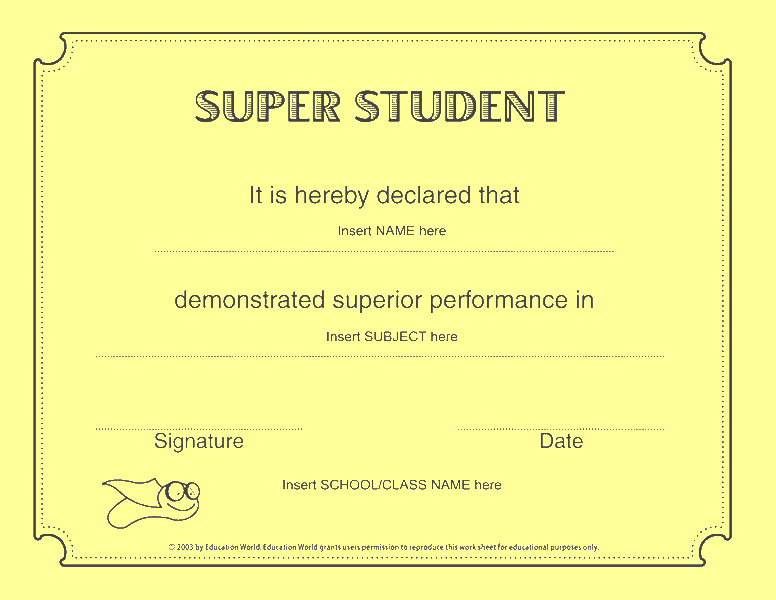 Super student certificate free certificate templates in academic super student certificate yellow yadclub Image collections