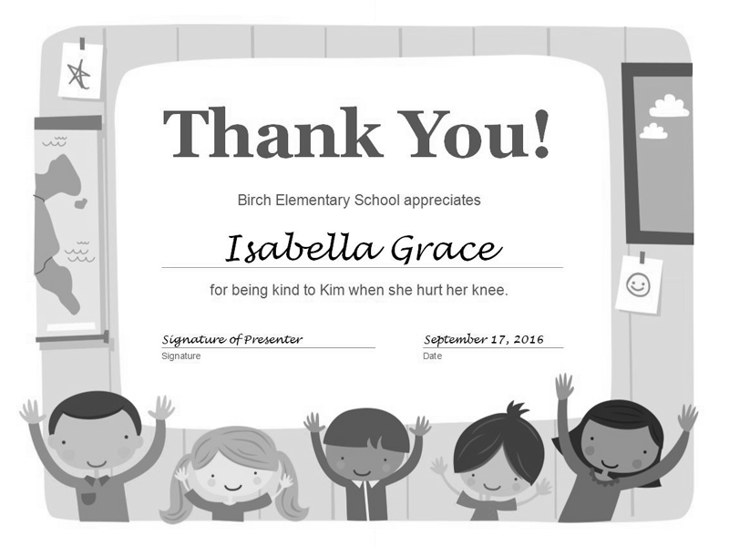 Thank You Certificate Grayscale