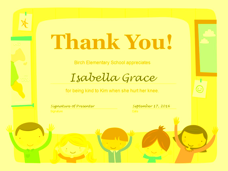 Thank You Certificate Yellow