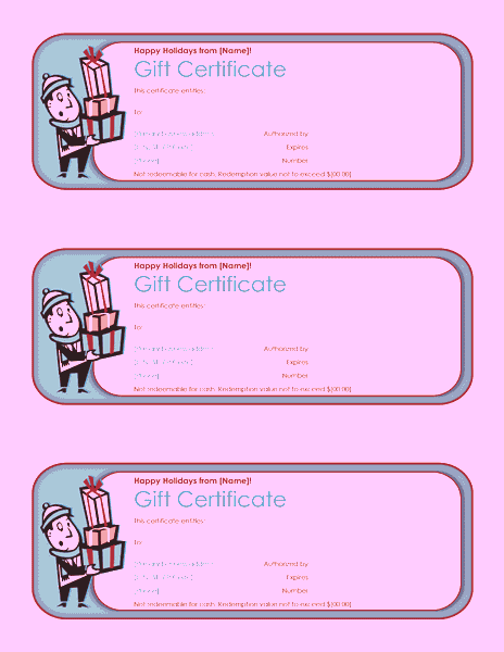Holiday Gift Certificate Template Free Download