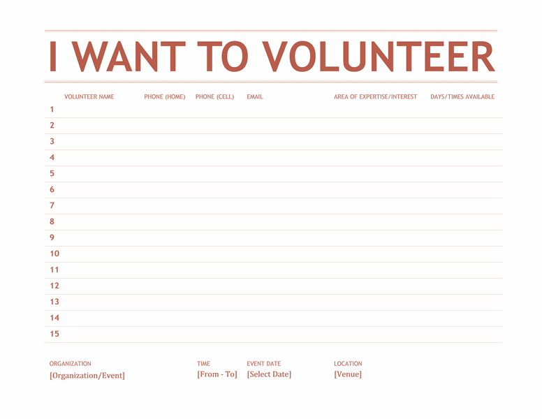 Volunteer Sign-up Sheet 01