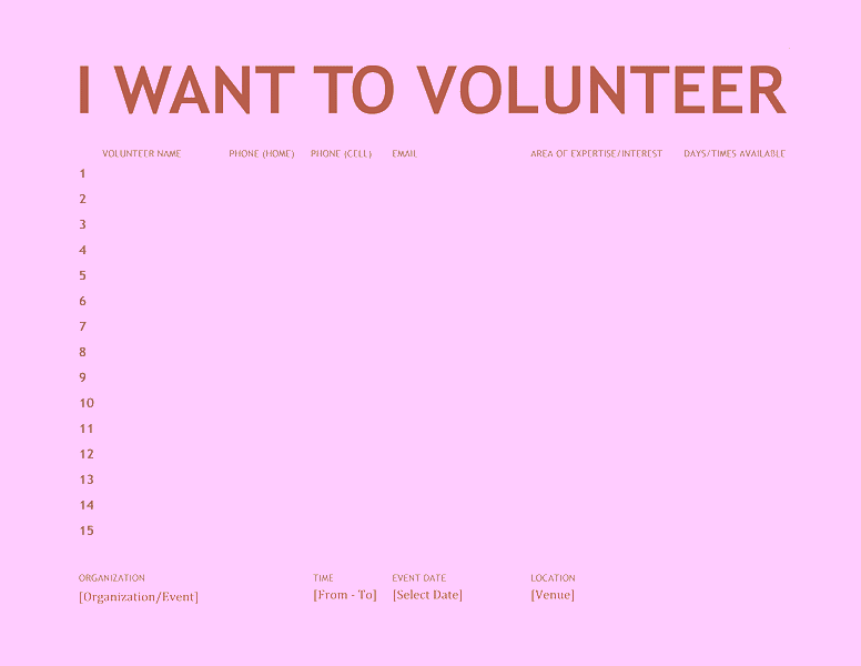 Volunteer Sign-up Sheet 03