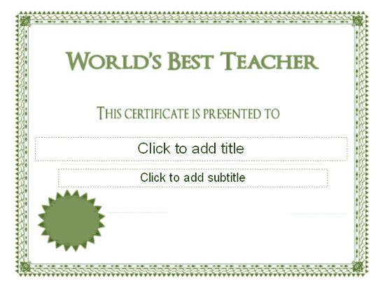 Worlds Best Teacher Award Certificate Free Certificate – Best Certificate Templates
