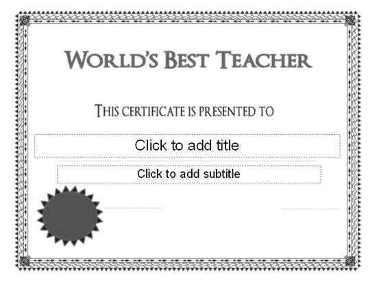Worlds Best Teacher Award Certificate Free Certificate Templates